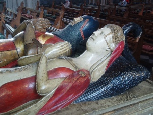 In Worcester Cathedral, this is believed to be the tomb of Sir John Beauchamp and his wife Joan.